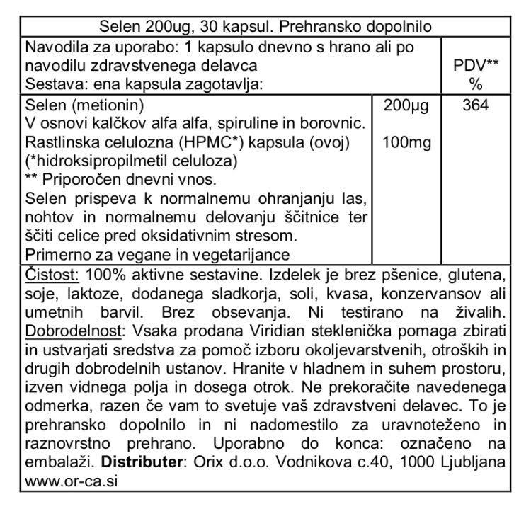 Selen 200 μg Viridian 30 kapsul - deklaracija