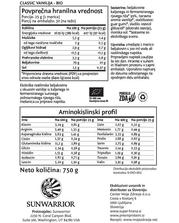 Sunwarrior Classic rastlinski proteini - Vanilija 750 g - deklaracija