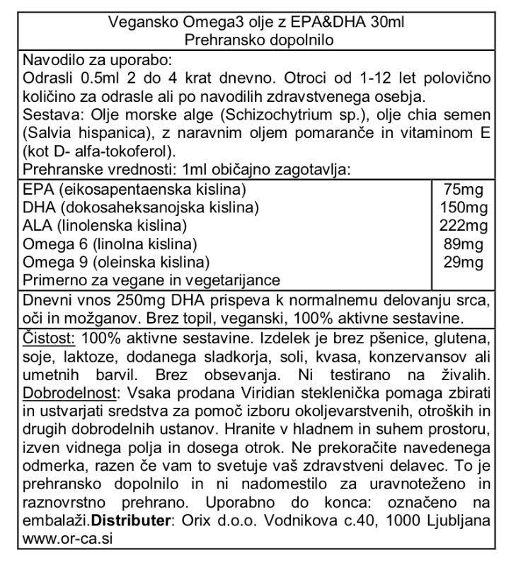 Vegansko Omega 3 olje z EPA & DHA Viridian 30 mL - deklaracija