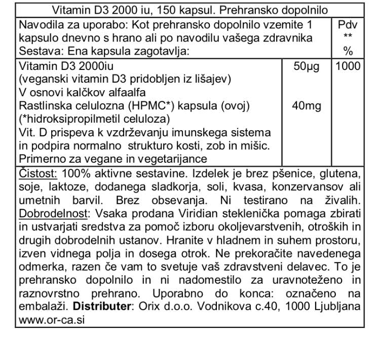 Viridian Vitamin D3 150 kapsul - deklaracija
