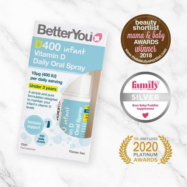 BetterYou D400 Infant Vitamin D za otroke nagrade