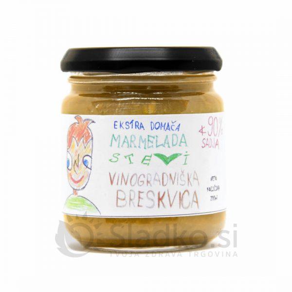 Breskova marmelada brez dodanega sladkorja s stevijo, ekstra domača, 90% sadni delež, Stevi, 200 ml