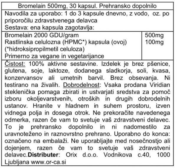 Bromelain Viridian, 500 mg, 30 kapsul - deklaracija