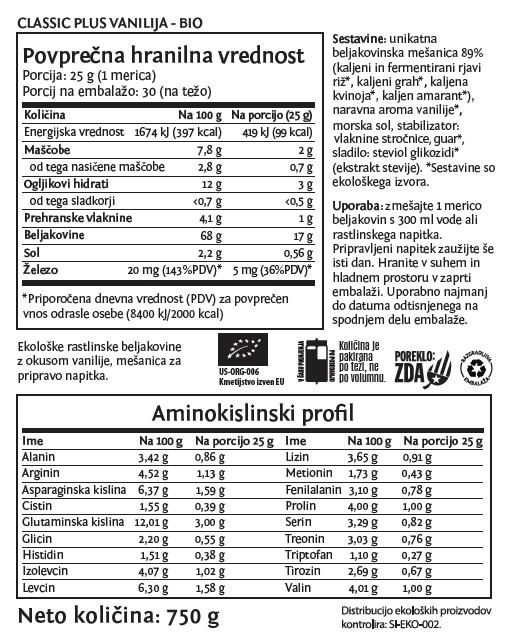 Deklaracija - Sunwarrior Classic PLUS rastlinski proteini - Vanilija, 750 g
