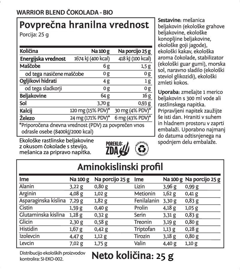 Deklaracija -Sunwarrior Warrior Blend rastlinski proteini - Čokolada, 25 g
