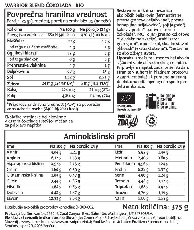 Deklaracija -Sunwarrior Warrior Blend rastlinski proteini - Čokolada, 375 g