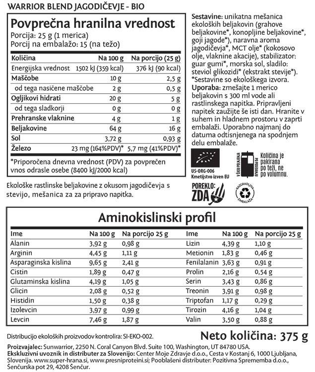 Deklaracija -Sunwarrior Warrior Blend rastlinski proteini - Jagodičevje, 375 g