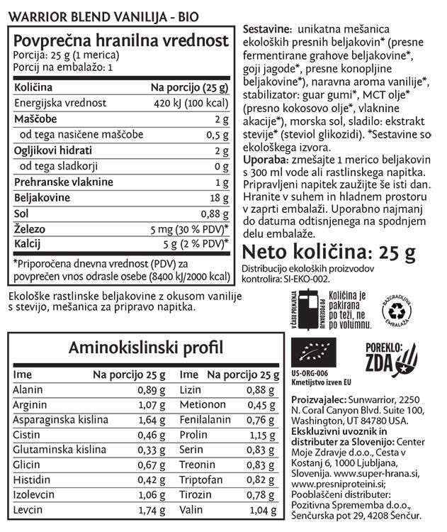 Deklaracija -Sunwarrior Warrior Blend rastlinski proteini - Vanilija, 25 g