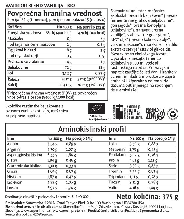 Deklaracija -Sunwarrior Warrior Blend rastlinski proteini - Vanilija, 375 g