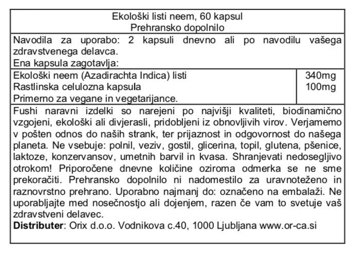 Ekološki neem Fushi, 60 kapsul - deklaracija
