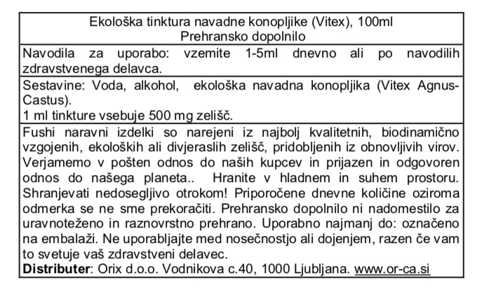Ekološka tinktura navadne konopljike (Vitex) Fushi, 100 ml - deklaracija