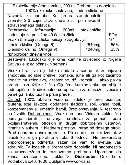 Ekološko olje črne kumine, 200 ml - deklaracija