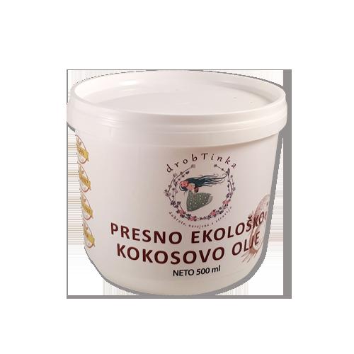 Kokosovo olje Drobtinka - hladno stiskano, ekološko, 500 ml