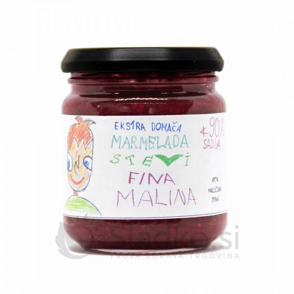 Malinova marmelada brez dodanega sladkorja s stevijo, ekstra domača, 90% sadni delež, Stevi, 200 ml