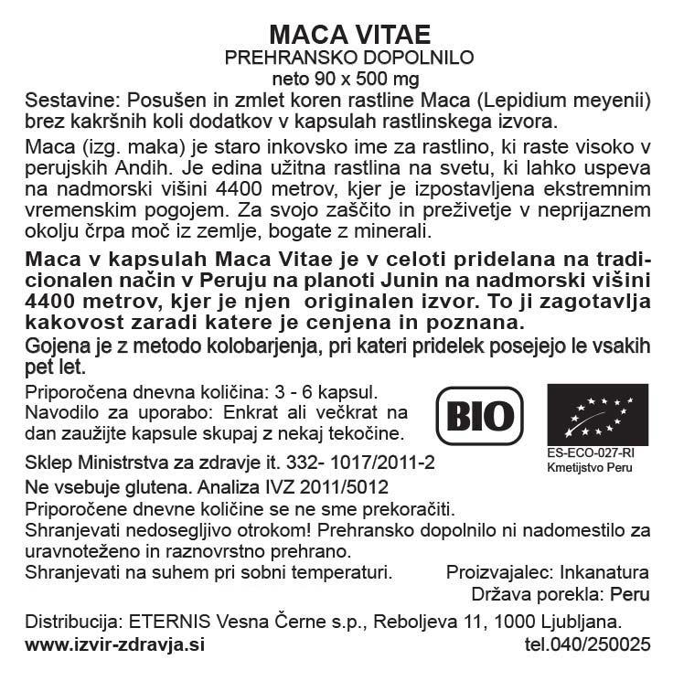 Natural Earth Maca Vitae, 90 kapsul - deklaracija