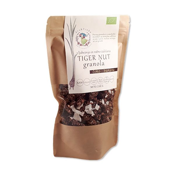 Presna ekološka granola Čoko - banana Tiger Nut Drobtinka, 230 g