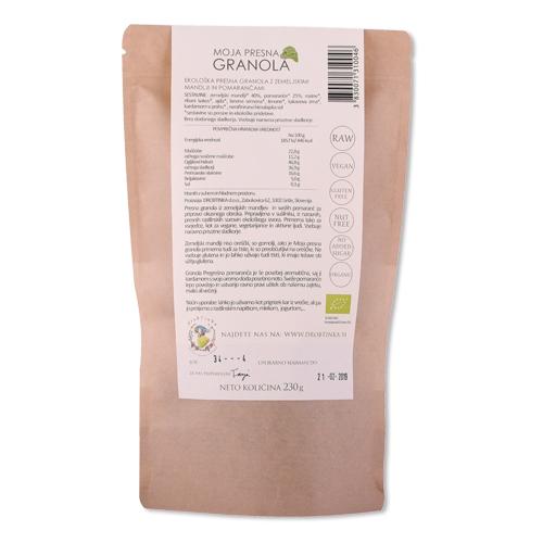 Presna ekološka granola Pregrešna pomaranča Drobtinka, 230 g - zadnja stran