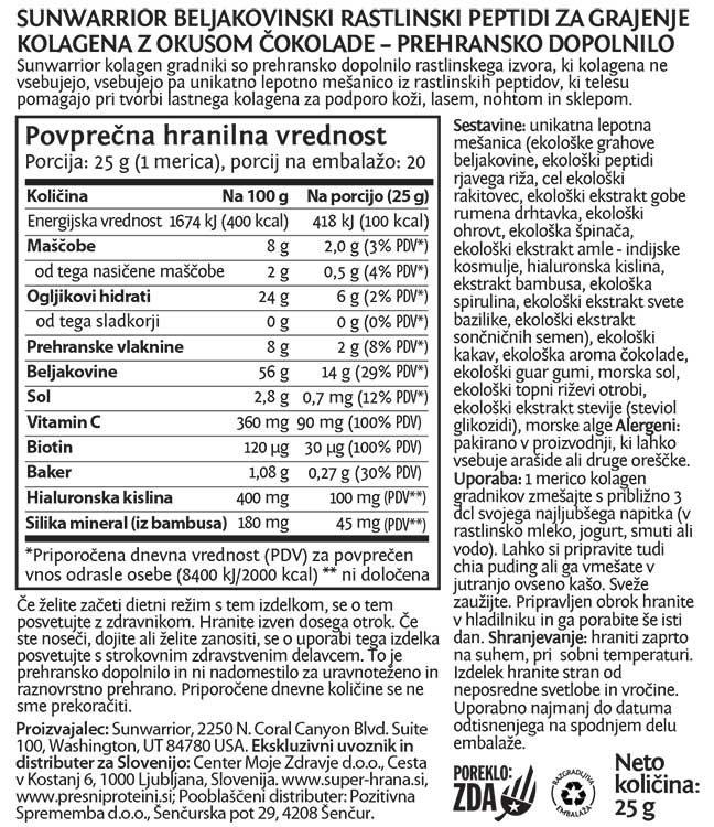 SunWarrior rastlinski kolagen gradniki Čokolada, 25 g - deklaracija