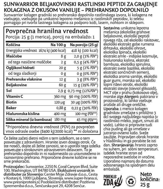 SunWarrior rastlinski kolagen gradniki - okus tahitijska vanilija, 25 g - deklaracija