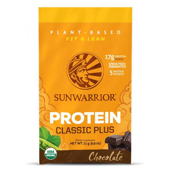 Sunwarrior Classic plus rastlinski proteini - Čokolada, 25 g