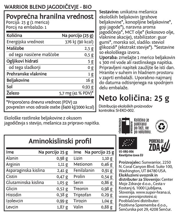 Sunwarrior Warrior Blend rastlinski proteini - Jagodičevje, 25 g - deklaracija