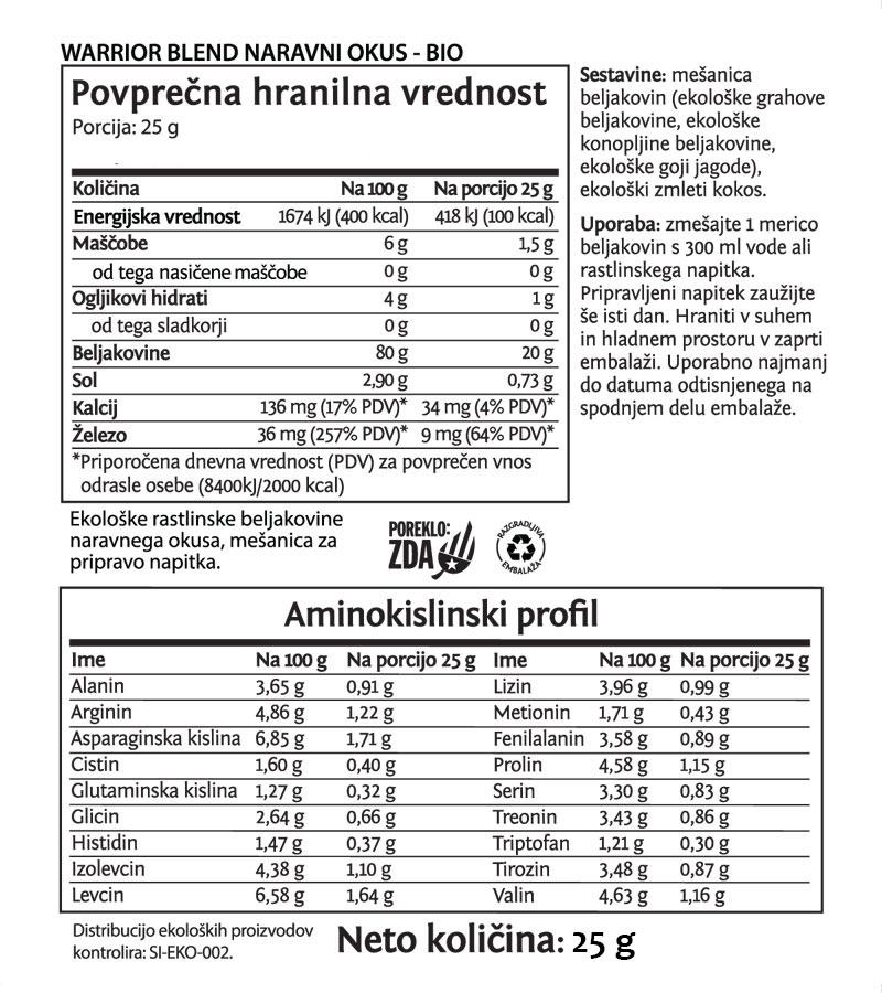 Sunwarrior Warrior Blend rastlinski proteini - Naravni, 25 g - deklaracija