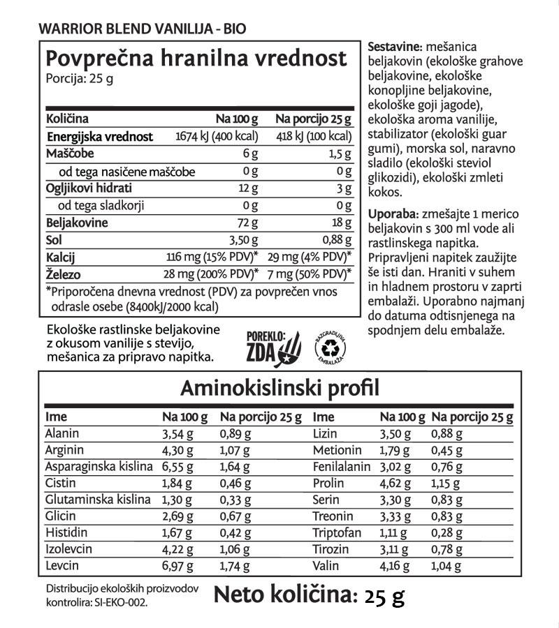 Sunwarrior Warrior Blend rastlinski proteini - Vanilija, 25 g - deklaracija