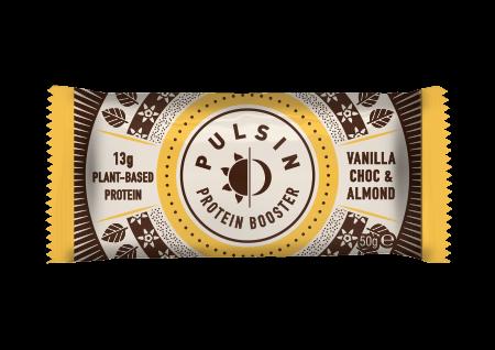 Proteinska tablica z vanilijo, mandlji in koščki čokolade Pulsin, 50 g