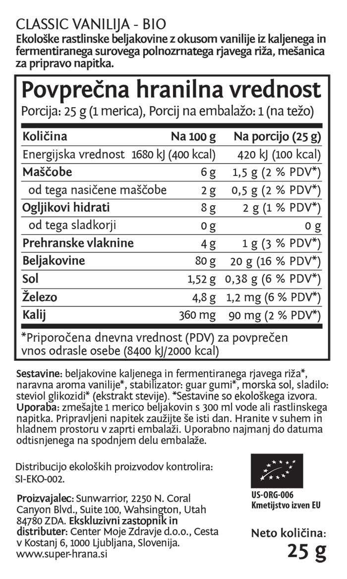 Sunwarrior Classic rastlinski proteini - Vanilija, 25 g - deklaracija