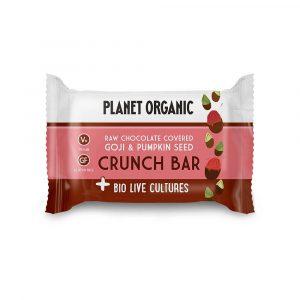 BioLive presna ploščica z AJDO in SEMENI, oblita s temno čokolado - okus GOJI JAGODE in BUČNA SEMENA, Planet Organic, 40 g