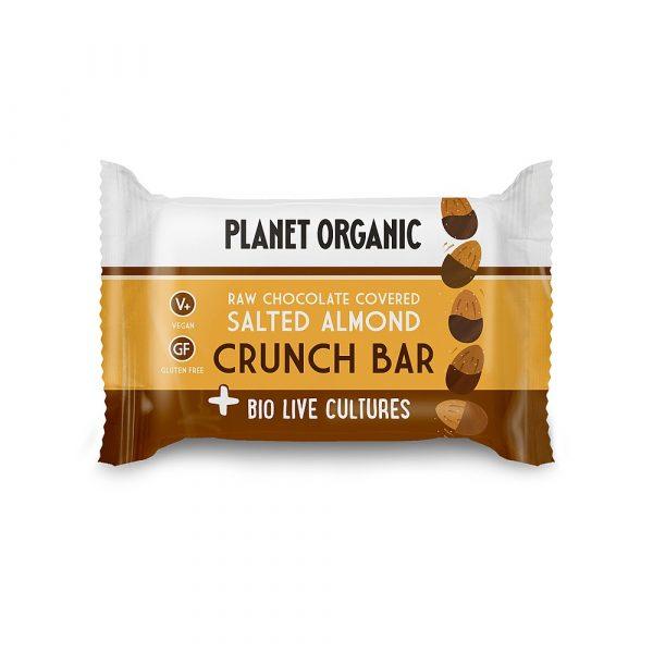 BioLive presna ploščica z AJDO in SEMENI, oblita s temno čokolado - okus SLANI MANDLJI, Planet Organic, 40 g