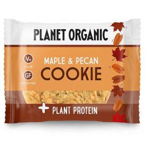 Ekološki brezglutenski PIŠKOT z dodanimi rastlinskimi BELJAKOVINAMI, okus JAVORJEV SIRUP IN PEKAN, Planet Organic, 50 g