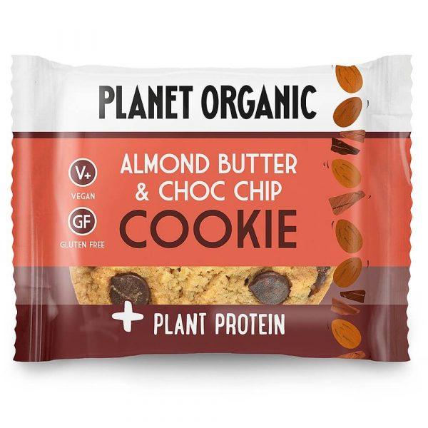 Ekološki brezglutenski PIŠKOT z dodanimi rastlinskimi BELJAKOVINAMI, okus MANDLJEVO MASLO & koščki TEMNE ČOKOLADE, Planet Organic, 50 g