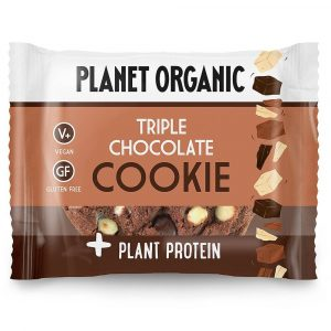 Ekološki brezglutenski PIŠKOT z dodanimi rastlinskimi BELJAKOVINAMI, okus TROJNA ČOKOLADA, Planet Organic, 50 g