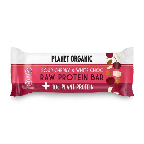 Presna in visoko beljakovinska EKO ploščica z višnjo in belo čokolado, Planet Organic, 50 g