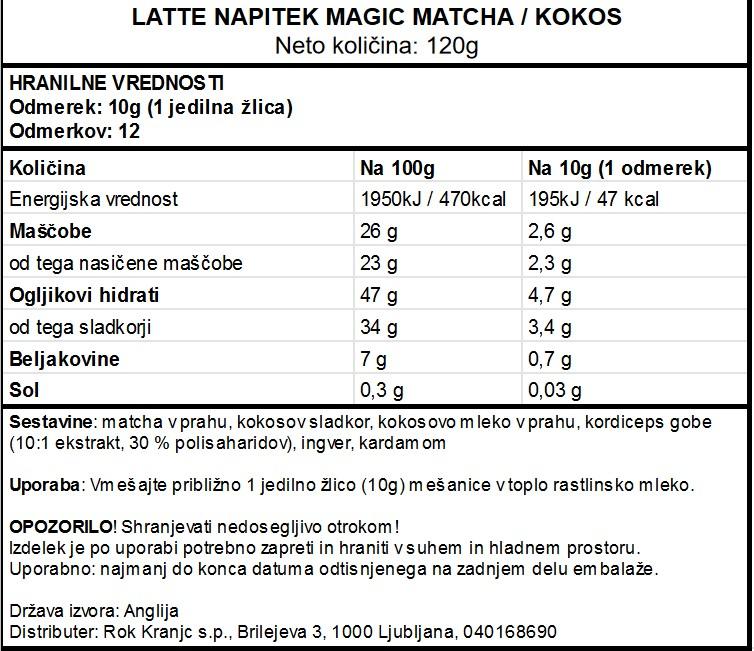 Matcha latte - Veganski latte napitek Matcha in kokos Vivo Life Magic