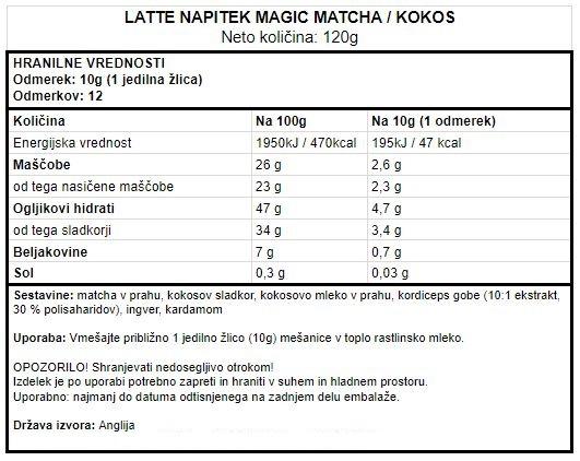 Matcha latte - Veganski latte napitek matcha in kokos Vivo Life Magic - deklaracija