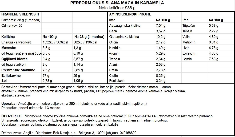 Perform Slana maca karamela 988g - deklaracija