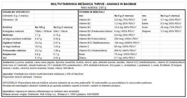 Veganska multivitaminska mešanica Vivo Life Thrive - Ananas in baobab 240 g - deklaracija