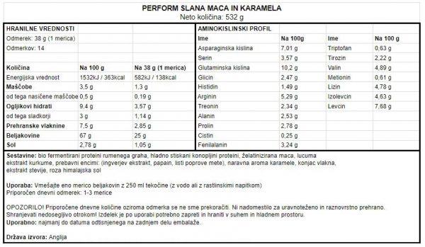 Veganski proteini Vivo Life Perform - Slana karamela in maca, 532 g - deklaracija