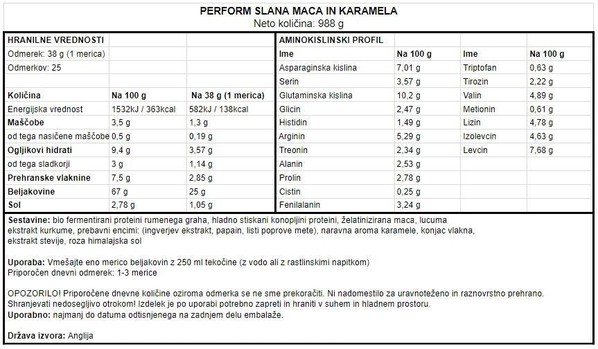 Veganski proteini Vivo Life Perform - Slana karamela in maca 988 g - deklaracija