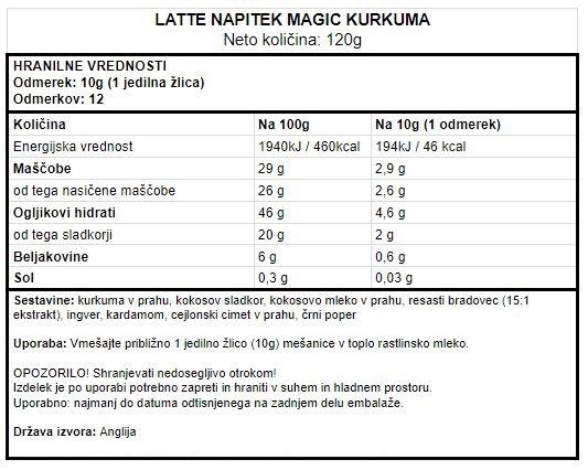 Zlato mleko - Veganski latte napitek s kurkumo Vivo Life Magic - deklaracija