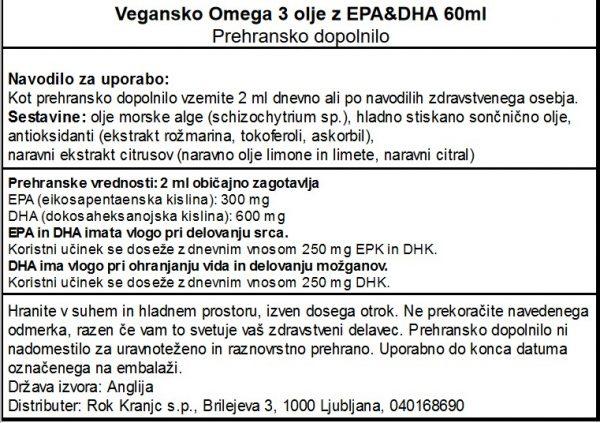Veganske Omega 3 Vivo Life z EPA in DHA - deklaracija