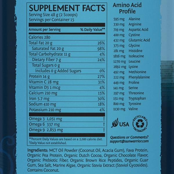 Sunwarrior Clean Keto veganski keto proteini - čokolada - hranilne vrednosti - povečava