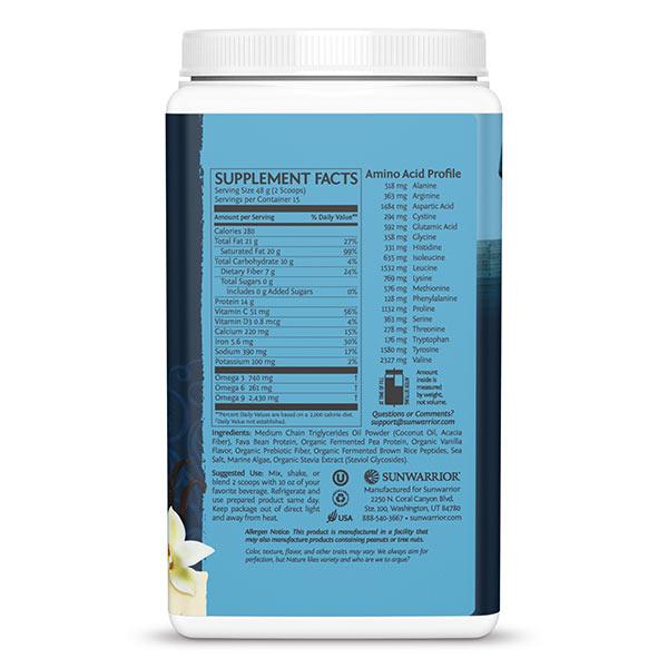 Sunwarrior Clean Keto veganski keto proteini - vanilija -hranilne vrednosti