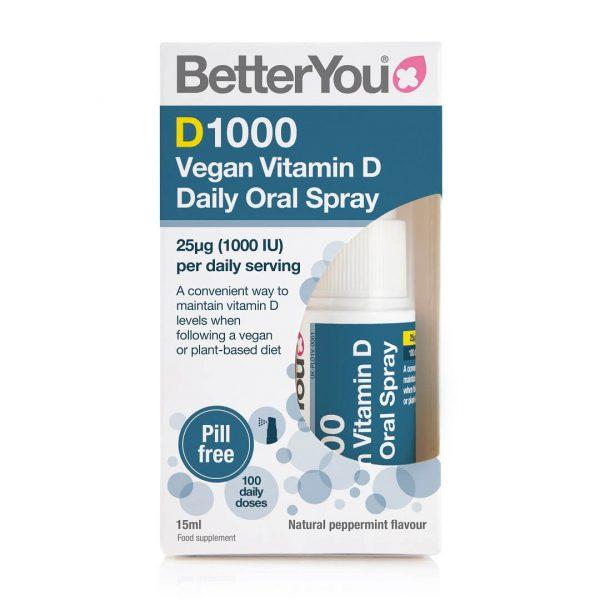 BetterYou D1000 Vegan Vitamin D škatlica