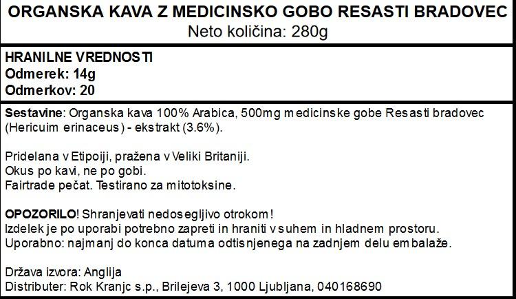 Organska kava Magic Vivo Life z medicinsko gobo resasti bradovec - deklaracija