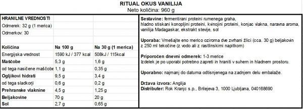 Ritual vanilija 960g - deklaracija