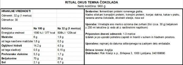 Veganski proteini Vivo Life Ritual - Čokolada - deklaracija