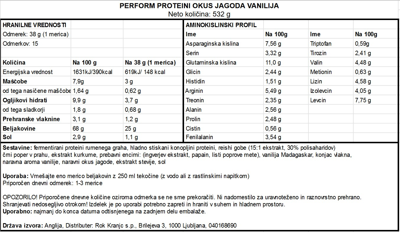 Perform jagoda vanilija 532g - deklaracija